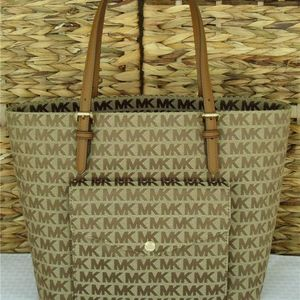 Michael Kors Jet Set Signature Beige Luggage Tote